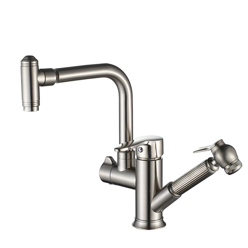 抽拉式冷热水龙头厨房洗菜盆全铜伸缩可旋转洗衣台洗碗池水槽家用