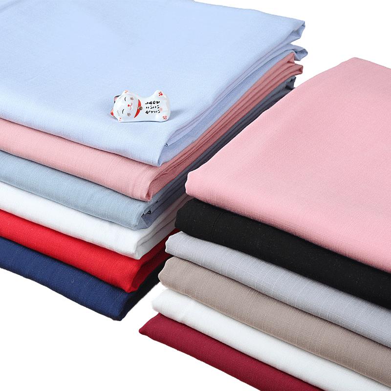 棉麻布料服装面料亚麻薄款纯色夏汉服人造苎麻竹节棉布料清仓处理