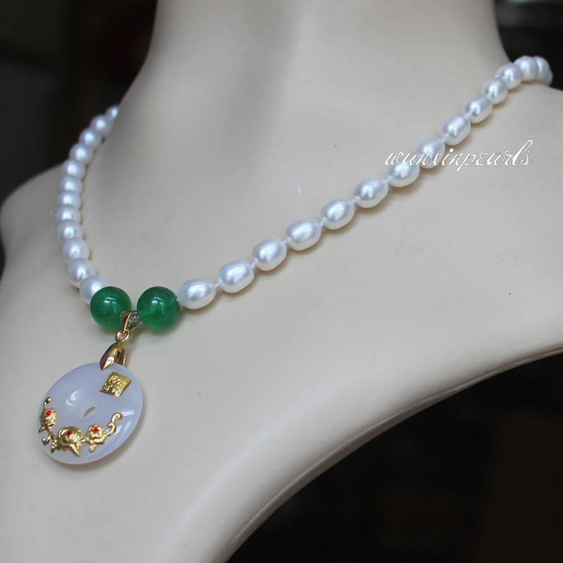 送妈妈 送长辈 天然淡水珍珠项链 8 - 7 玉髓镶金吊坠 珍珠颈饰包邮