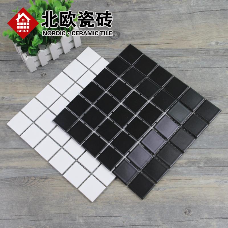 北欧简约纯白色陶瓷马赛克黑色亚光洗手间瓷砖墙地砖黑色小方砖30