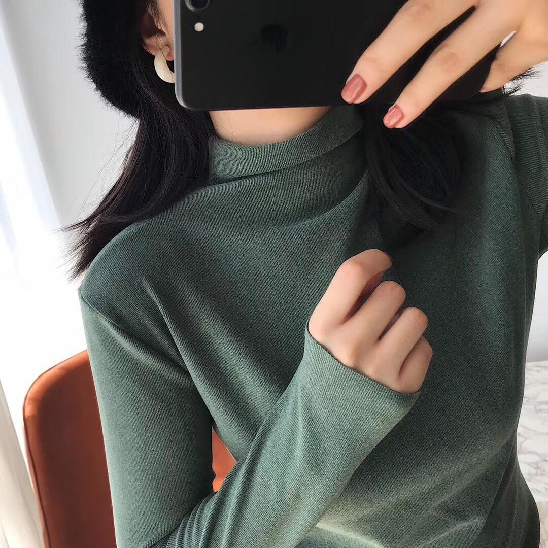 motie阳离子打底衫女保暖秋冬内搭半高领针织衫双面德绒加厚长袖