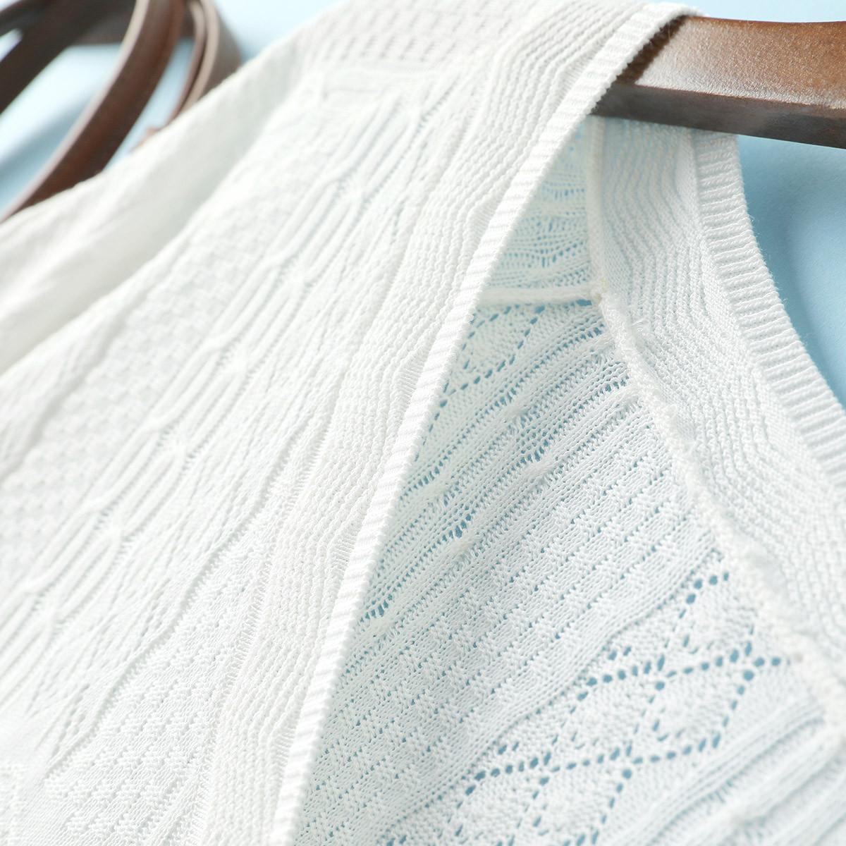 女式时尚镂空花纹简约气质显瘦短袖针织衫 夏首发 19