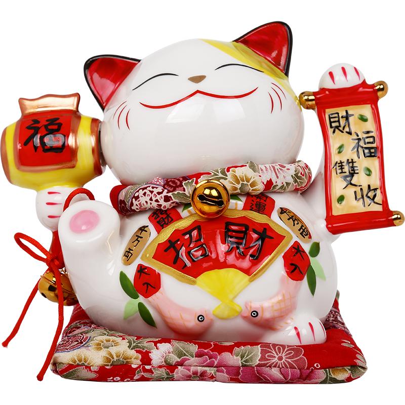 2069 店铺开业送礼陶瓷存钱罐装饰品创意礼品 招财猫摆件 上善若水