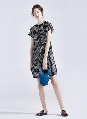 欧尚尼印花短袖连衣裙女收腰显瘦气质2021夏季新款时尚轻熟风短裙