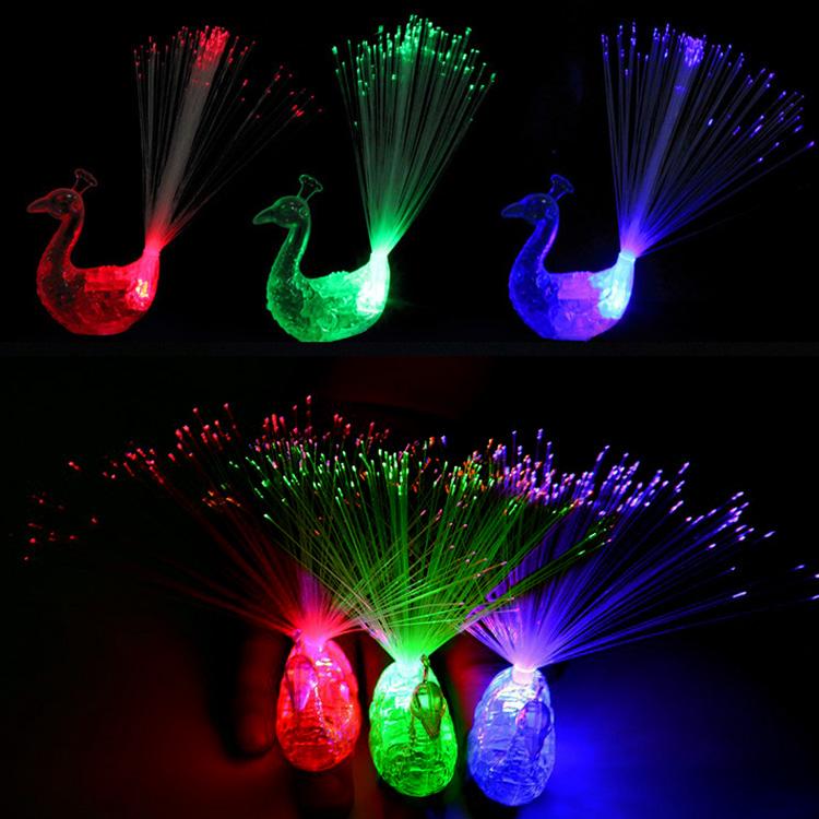 手指激光灯 彩色发光戒指灯 炫彩LED手指灯 七彩孔雀刺身灯玩具