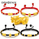 The bracelet gold men and women red rope bracelet bracelet 3D hard gold bracelet picho transfer beads this year