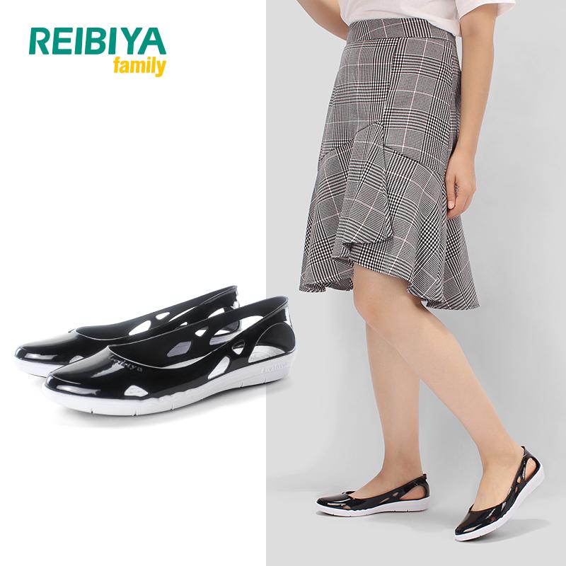 REIBIYA新款卡洛儿时尚尖头平底鞋女镂空浅口单鞋百搭凉鞋雷比亚