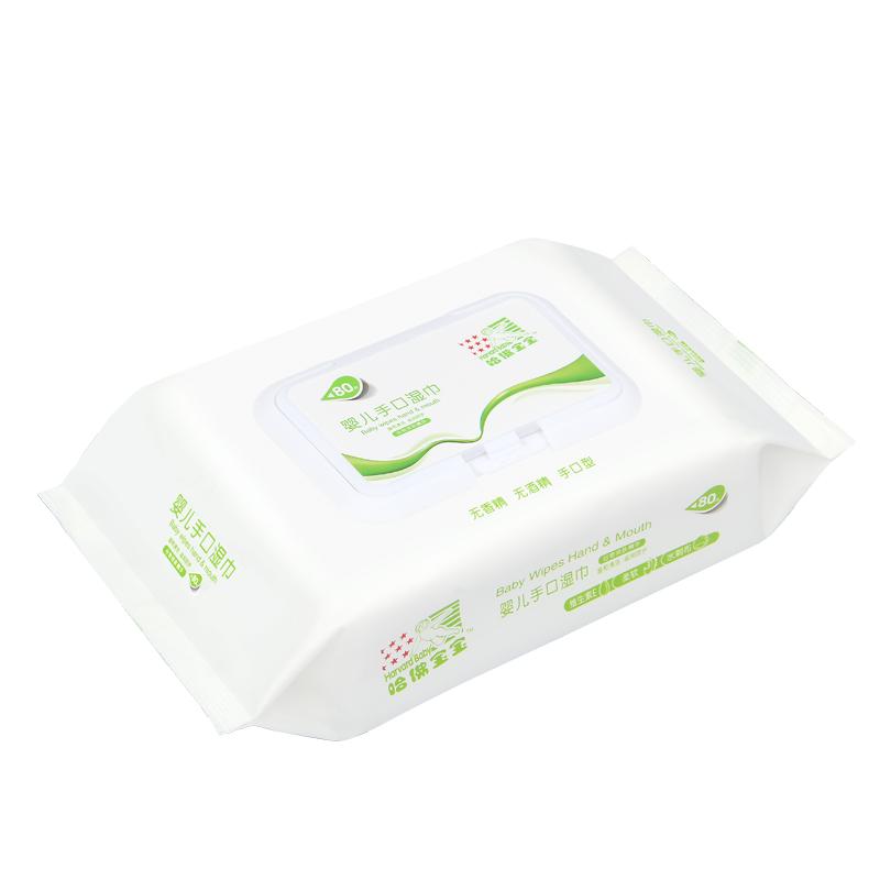 哈佛宝宝 80抽*5包婴儿新生儿无香带盖手口湿巾纸不连抽便携装