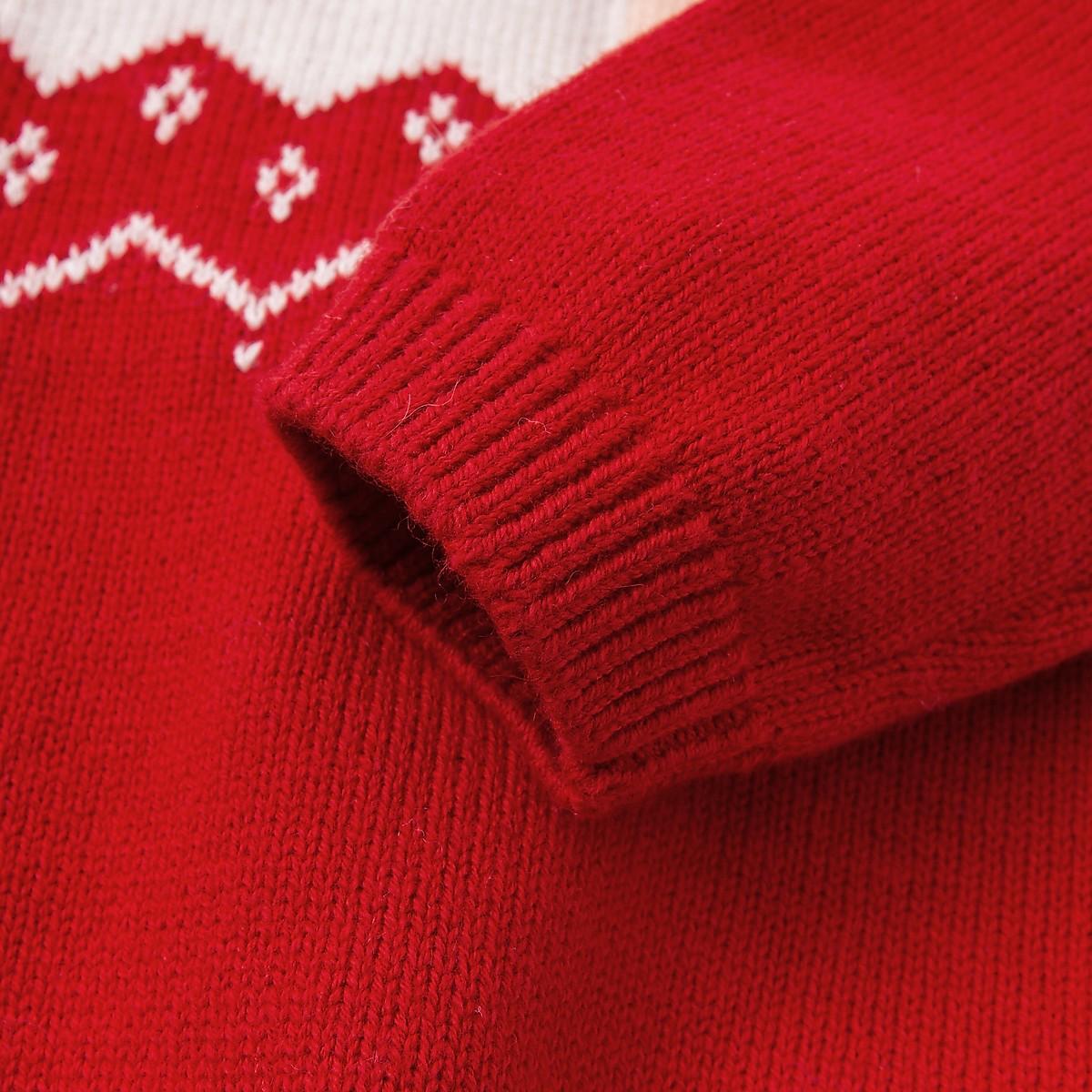 戴维贝拉男女童毛衣冬季新款宝宝新年卡通套头衫  新年毛衣