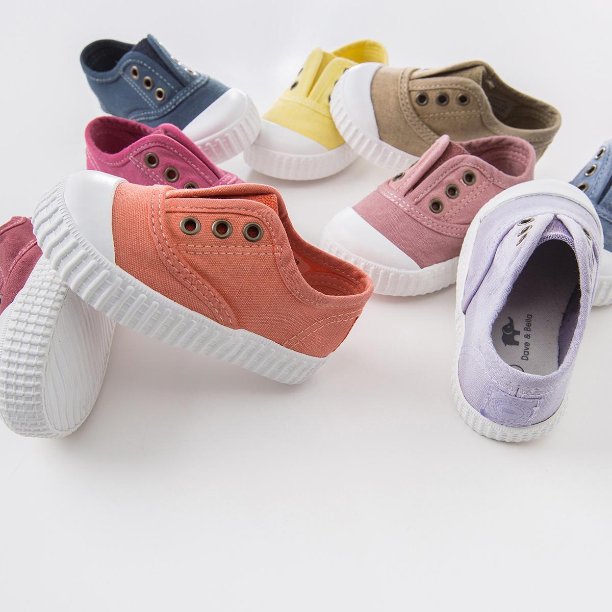 davebella戴维贝拉秋儿童帆布鞋男女宝宝布鞋糖果色鞋子DB4688