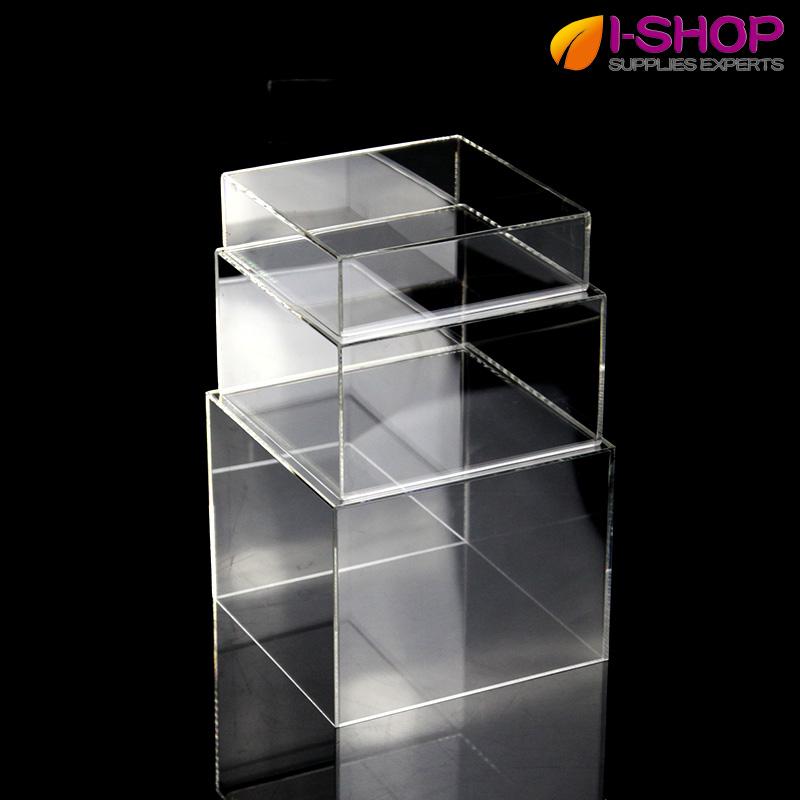 亚克力矩形展示台 透明桌面摆台展架 饰品包包陈列架套装 3个组合