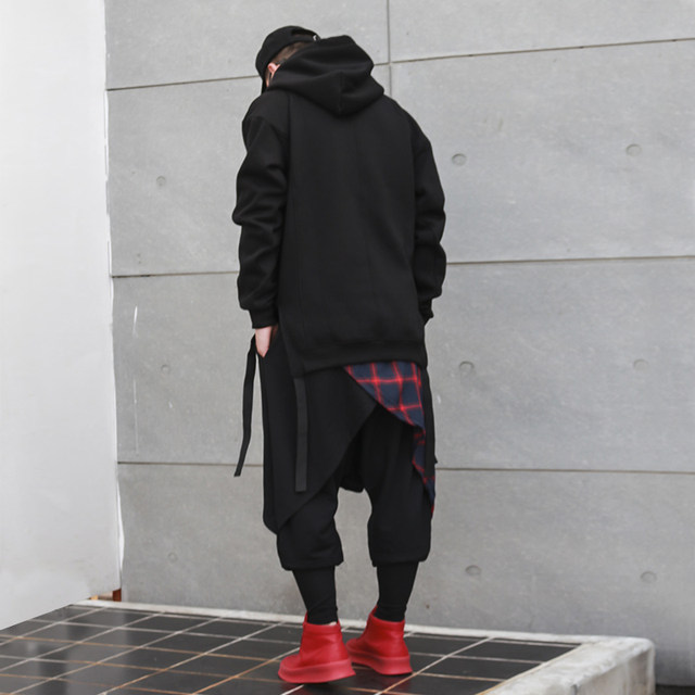 Spring and autumn fake two-piece hip-hars pants lattice male trend loose pants Korean version of the skirt pants HIPHOP large size harem pants