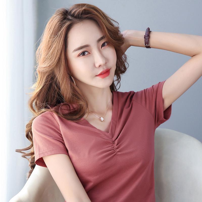 纯棉T恤女装夏季新款修身显瘦气质短袖提胸V领褶皱大码莫代尔上衣主图