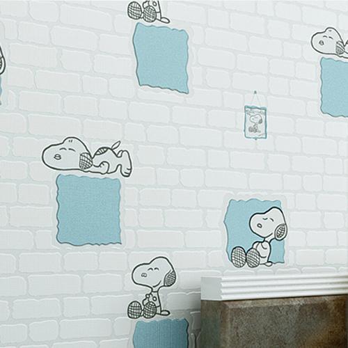 宿 背景墙卡通 无纺布墙纸自粘现代女孩网红卧室儿童房砖纹壁纸 3D