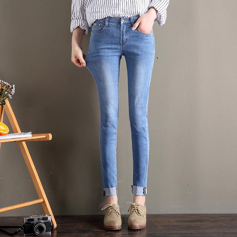薄款牛仔裤女九分裤夏季天丝超薄冰丝高腰弹力紧身显瘦软
