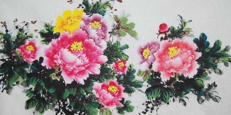 特价纯手绘三尺国画牡丹图花开富贵横竖幅花鸟客厅装饰风水字画心