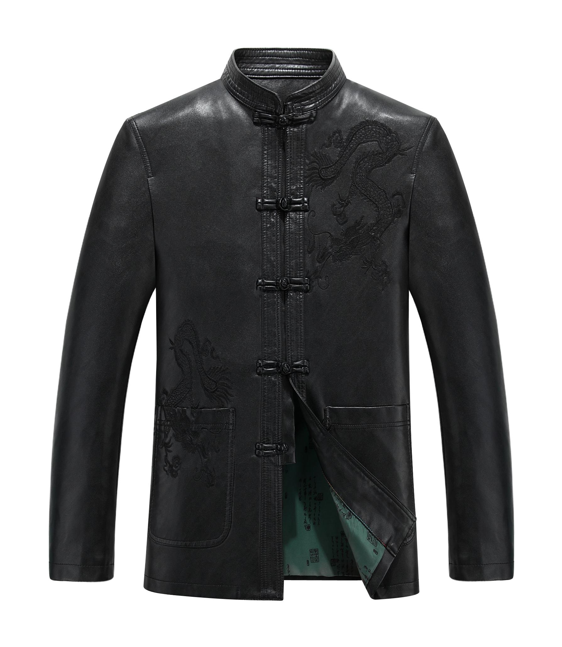 中老年男装皮衣复古休闲唐装皮衣男士大码皮外套男式中国风皮夹克