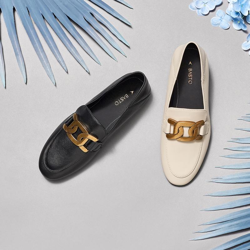 KA175AA1 春季新款商场同款一鞋两穿单鞋女乐福鞋 2021 百思图 预售