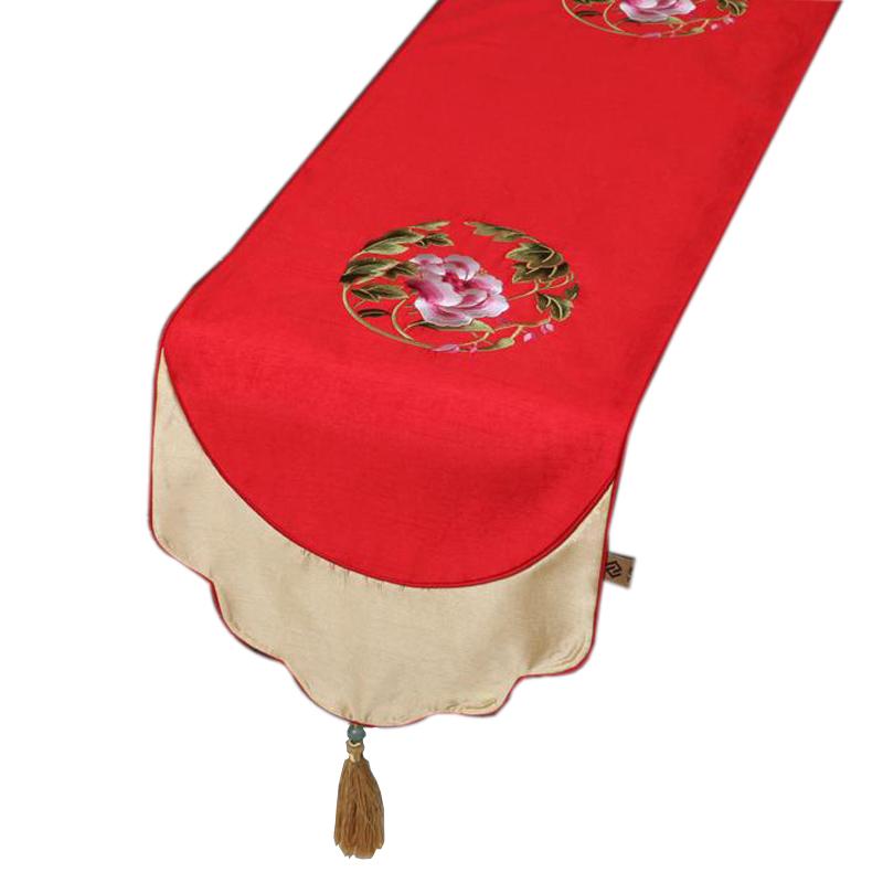 艺必旭中式织锦缎时尚喜庆桌旗简约田园餐桌桌布茶几布艺刺绣床旗