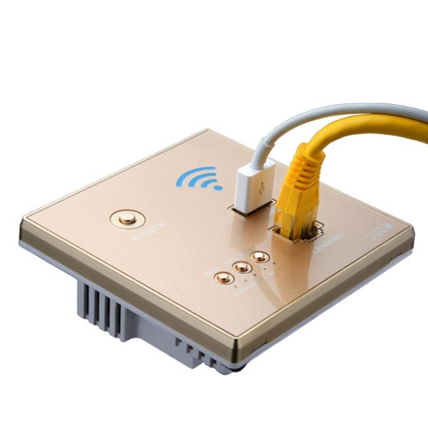 86型墙壁式无线路由器wifi智能插座面板USB充电中继300M路由器
