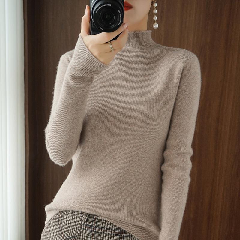 秋冬新款半高领修身毛衣女套头羊绒针织衫洋气长袖内搭紧身打底 20