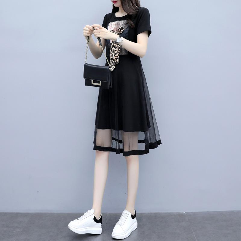 胖mm2020夏季遮肚子网纱减龄小黑裙大码女装洋气胖妹妹显瘦连衣裙