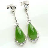 925 sterling silver inlaid jade and Tian Biyu drop earrings natural Wada Lady paragraph earrings earrings with a certificate