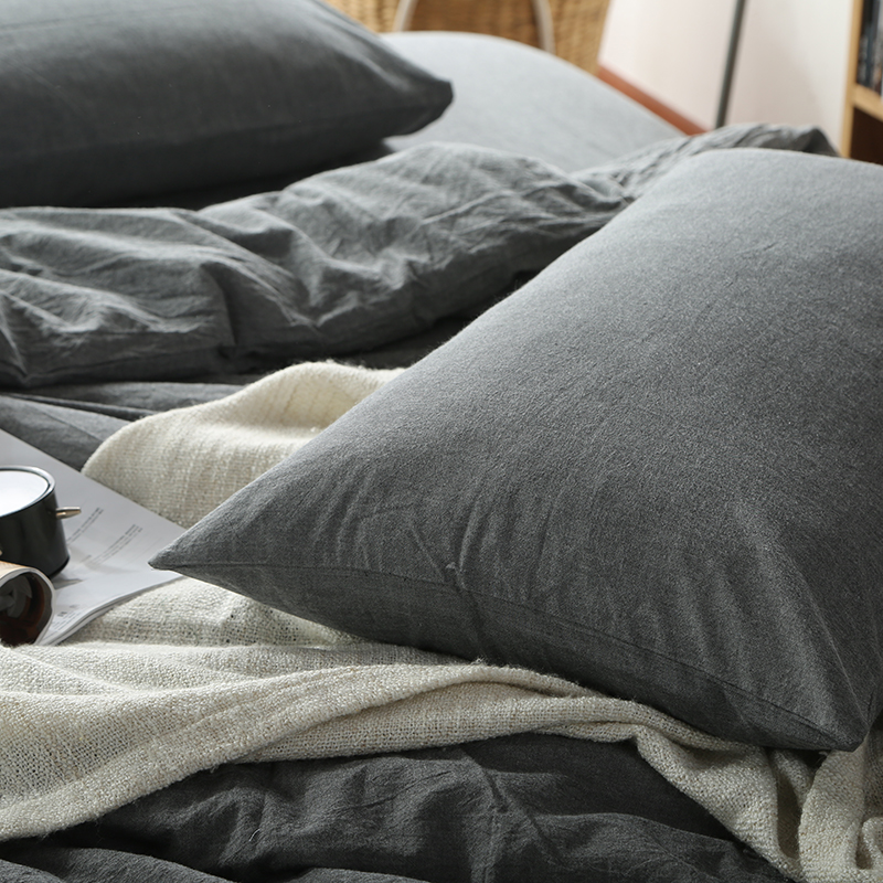 日式良品水洗棉枕頭套全棉簡約格子純色純棉48*74單人枕套一對2只