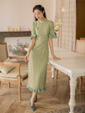 Matcha green lace dress cheongsam improved version of the 2020 women's spring models temperament of young girls under slit skirt