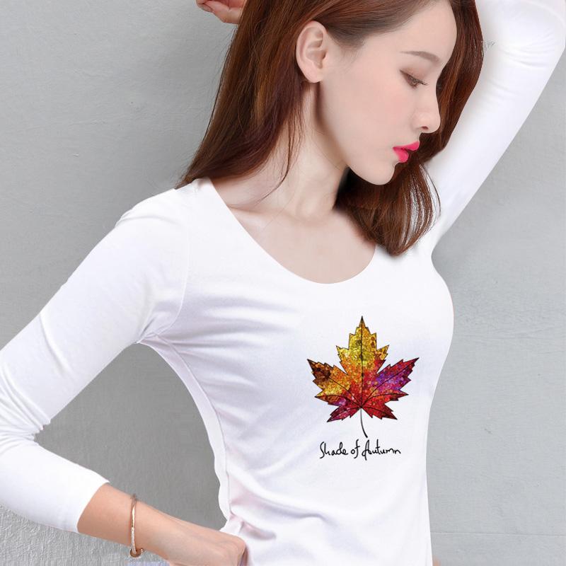 T 恤女装秋季新款上衣百搭学生修身长袖字母体恤女内搭 t 纯棉打底衫
