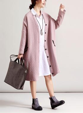 2021春装新款 文艺宽松纯棉花纹中长款外套 大码女装休闲开衫大衣