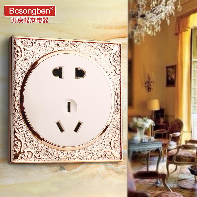 松本欧式雕花金色酒店86型墙壁家用圆形USB开关插座面板 5孔插座