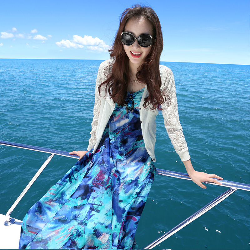 度假小姐蓝色雪纺吊带裙长裙女连衣裙长款带胸垫波西米亚沙滩裙夏