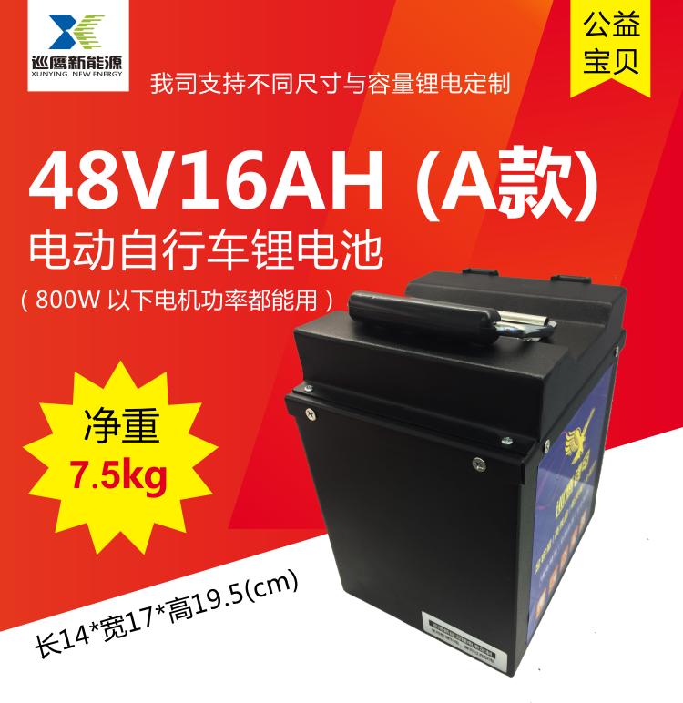 厂家直销 磷酸铁锂 成品 48V16AH 电动自行车锂电池定制