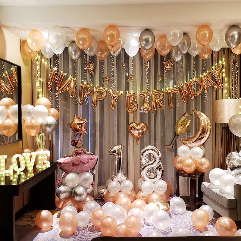 大人生日快乐派对装饰气球女男朋友浪漫惊喜场景布置儿童用品套餐