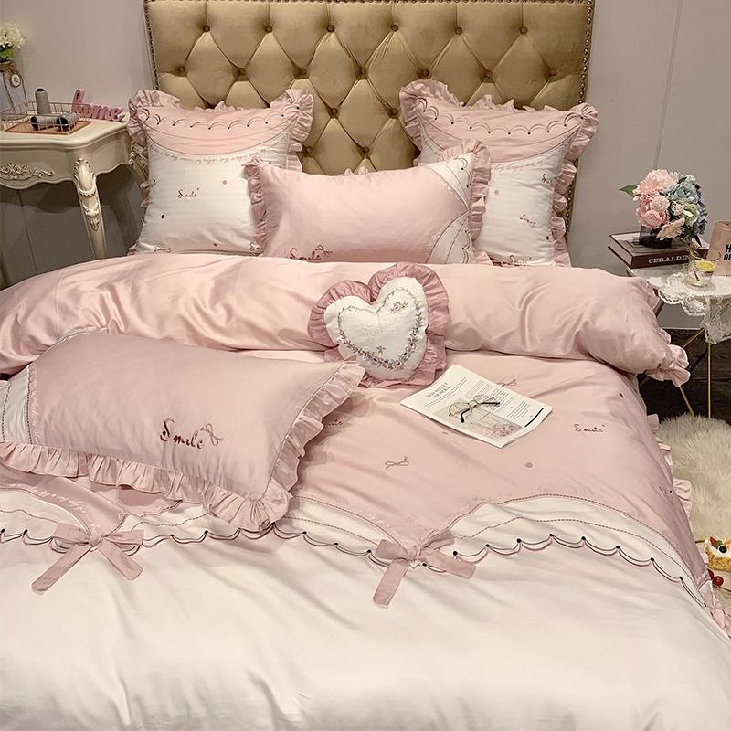 支貢緞粉色蝴蝶結少女心公主風床單被套床上用品 60 四件套全棉純棉