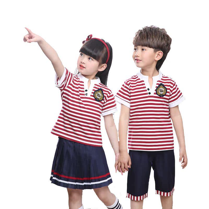 男童女童中小学生校服夏季学院风班服条纹短袖裙子套装幼儿园园服