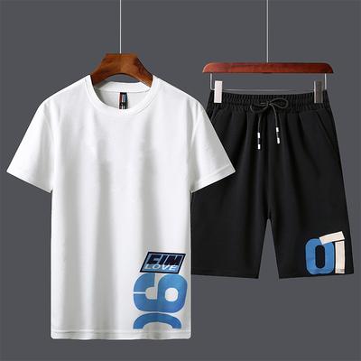 潮牌2019新款短袖t恤男士宽松体恤男装一套潮男百搭夏季套装 潮