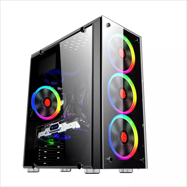 玩嘉双面玻璃侧透机箱台式电脑主机箱办公机箱游戏机箱USB3.0水冷