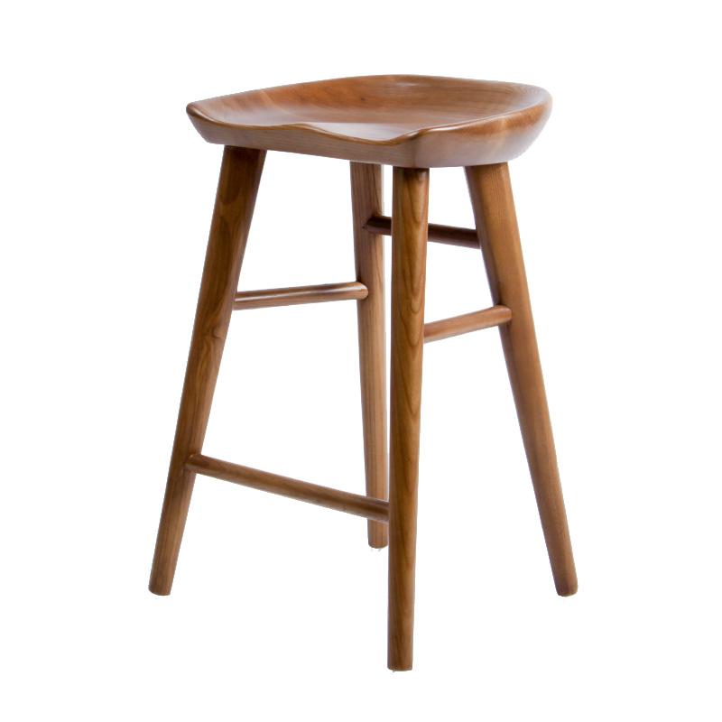 北欧式吧台椅美式实木高脚凳子家用酒吧椅子吧凳现代简约家居复古