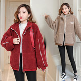 Maternity clothes hold baby go out coat female autumn and winter clothes winter Korean large size loose thick warm lamb wool jacket