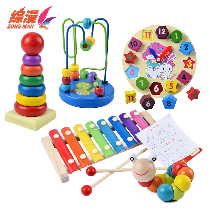 综漫一岁女宝宝绕珠玩具婴儿益智串珠1-2-3周岁男孩细致动作训练