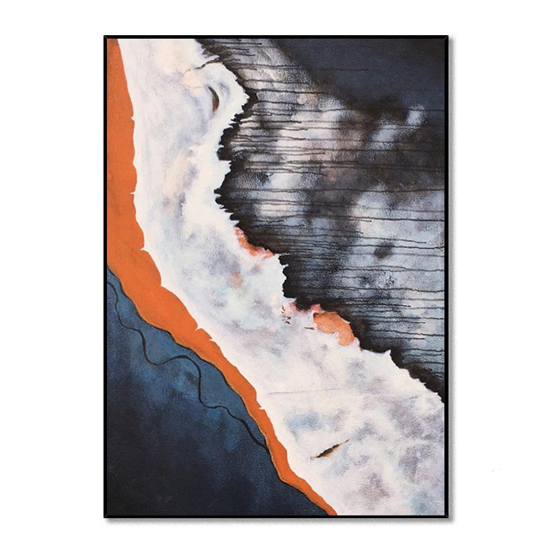 简约美式轻奢油画手绘抽象画橙灰色走廊客厅玄关装饰画大幅挂画竖