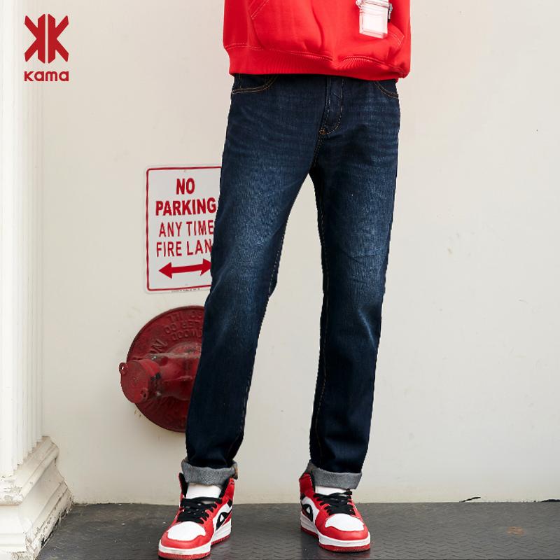卡玛KAMA 秋季新款纯棉休闲经典款牛仔裤男直筒长裤2116333