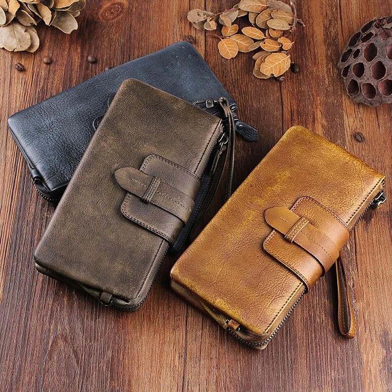 植鞣牛皮男士钱包长款拉链真皮手工复古软皮手包做旧女青年手拿包
