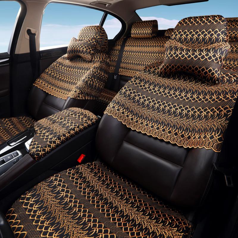 定做布艺汽车座套全包棉质刺绣蕾丝座椅套订做汽车坐垫套半包专用