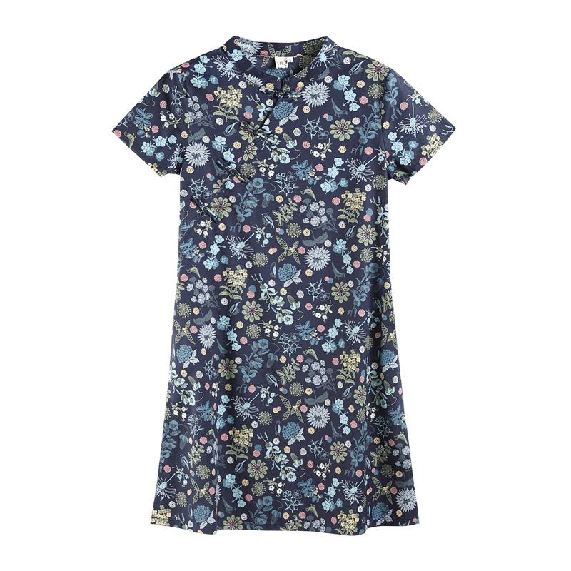 三五年Q287夏装中式改良复古旗袍式碎花短袖宽松文艺中长连衣裙女