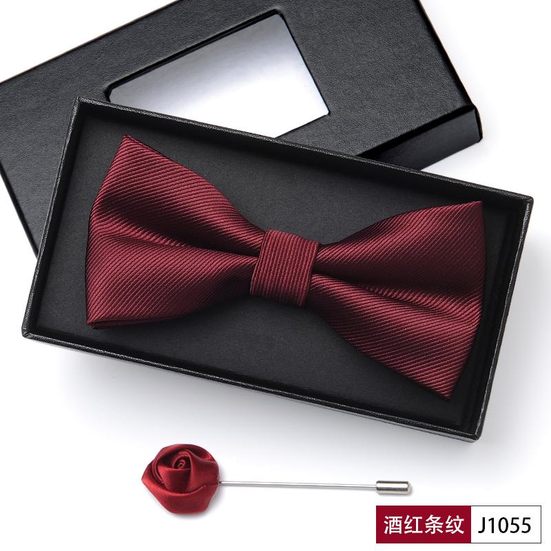 新郎伴郎领结男结婚婚礼英伦韩版正装西装礼服黑色酒红色领结红色