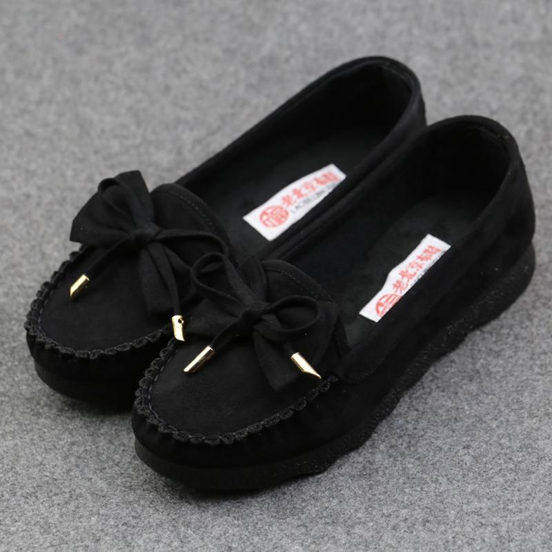 19春季老北京布鞋女單鞋豆豆鞋舒適軟底平跟上班通勤鞋黑色工作鞋
