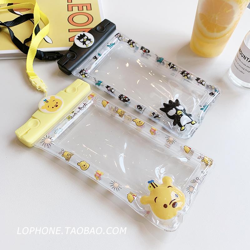 苹果xsmax半透卡通手机防水袋iphone8/7游泳气囊小米华为浮潜水套